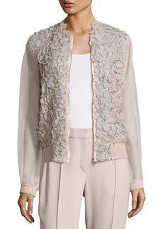 Elie Tahari Suri Floral Silk Organza Bomber Jacket