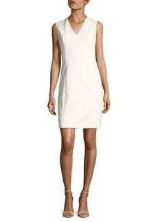 Elie Tahari Susan Solid V-Neck Dress
