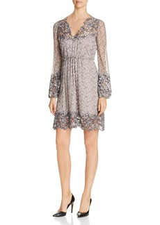 Elie Tahari Tally Lace Trim Silk Dress