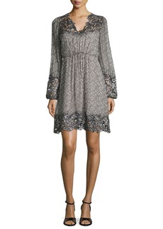 Elie Tahari Tally Long-Sleeve Lace-Trimmed Printed Dress