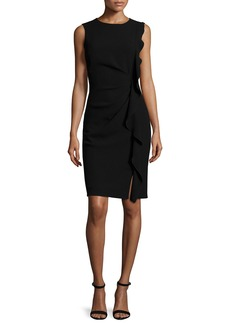 Elie Tahari Tamara Sleeveless Ruffle-Trim Sheath Dress