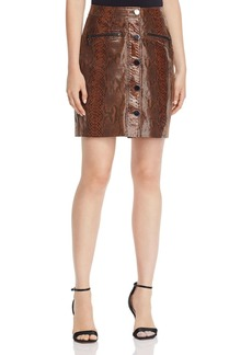 Elie Tahari Tammy Snake-Embossed Leather Mini Skirt