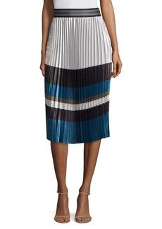 Elie Tahari Tamsen Striped Pleated Skirt