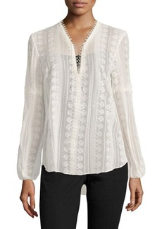 Elie Tahari Tanya Crocheted Silk Blouse