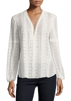 Elie Tahari Tanya Long-Sleeve Lace-Up Silk Blouse