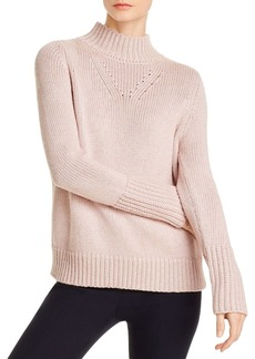Elie Tahari Tanya Metallic Mock Neck Sweater