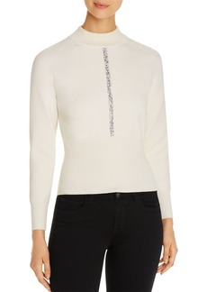 Elie Tahari Tatum Embellished Mock-Neck Sweater