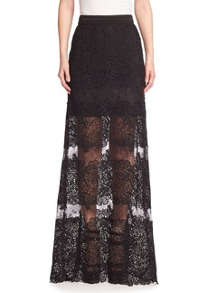 Elie Tahari Tayla Silk Lace Applique Maxi Skirt