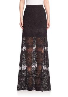Elie Tahari Tayla Silk Lace Applique Maxi Skirt