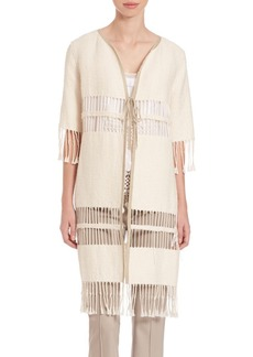 Elie Tahari Textured Jacket with Fringe