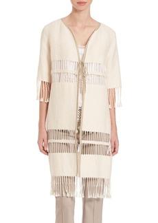 Elie Tahari Textured Jacket with Fringe