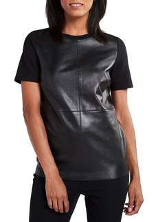 Elie Tahari Tiff Crewneck Short-Sleeve Blouse with Leather Bodice