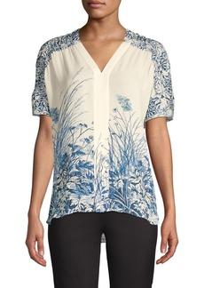 Elie Tahari Tiffany Printed Silk Blouse