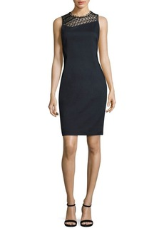 Elie Tahari Tina Paneled Faille Sheath Dress
