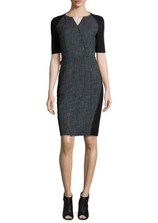 Elie Tahari Tinsley Half-Sleeve Colorblocked Tweed Sheath Dress