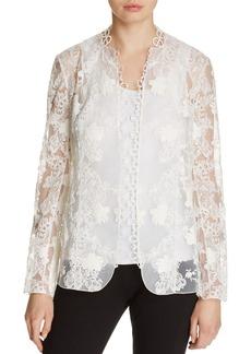 Elie Tahari Tori Embroidered Open Front Jacket
