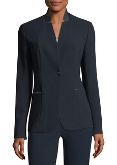 Elie Tahari Tori Leather-Trimmed Crepe Blazer Jacket