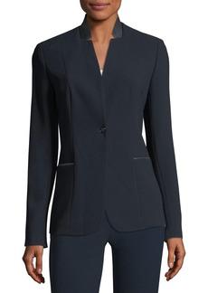 Elie Tahari Tori Leather-Trimmed Crepe Blazer Jacket