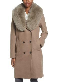 Elie Tahari Trystan Wool Blend Coat with Genuine Fox Fur Trim