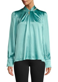 Elie Tahari Twist-Neck Silk Blouse