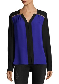 Elie Tahari Two-Tone Silk Blouse