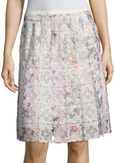 Elie Tahari Tyler Printed Floral Lace Skirt