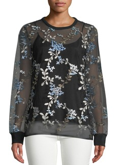 Elie Tahari Val Floral-Embroidered Top