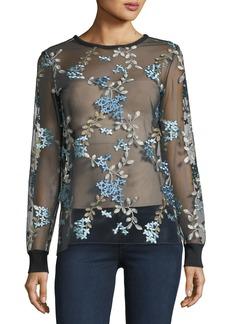 Elie Tahari Val Floral-Embroidered Top