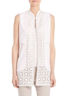 Elie Tahari Veda Long Stretch-Cotton Pique Vest
