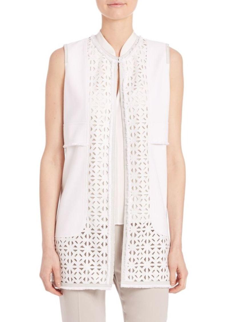 Elie Tahari Veda Long Stretch-Cotton Pique Vest