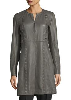 Elie Tahari Veeda Stitch-Embellished Leather Coat