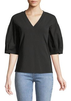 Elie Tahari Venetia V-Neck Balloon-Sleeve Blouse