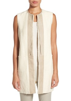 Elie Tahari 'Verina' Suede Trim Cotton & Linen Vest