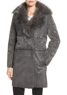 Elie Tahari Veronica Faux Fur Trim Jacket
