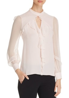 Elie Tahari Vianna Ruffled Silk Top