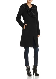 Elie Tahari Victoria Calf Hair Trimmed Ruffle Collar Coat