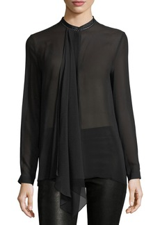 Elie Tahari Vincenza Long-Sleeve Sheer Silk Blouse
