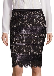 Elie Tahari Violet Sequin Lace Pencil Skirt