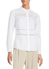 Elie Tahari Viviana Crochet-Accented Collared Shirt