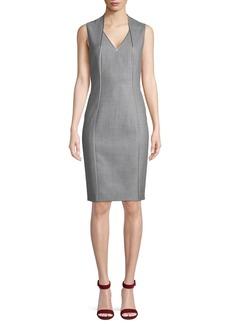 Elie Tahari Wendolyn V-Neck Sleeveless Wool Sheath Dress