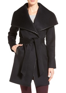 Elie Tahari Whipstitch Wool Blend Wrap Coat