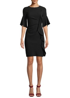Elie Tahari Whitley Half-Sleeve Ruffled-Trim Dress