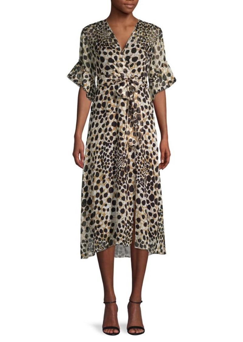Elie Tahari Wild-Print Silk Faux Wrap Dress