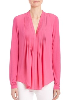 Elie Tahari Willow Pleated-Front Silk Blouse
