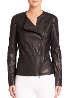 Elie Tahari Wilma Asymmetrical Zipper Leather Jacket
