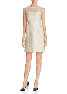 Elie Tahari Winny Metallic Mixed Media Dress