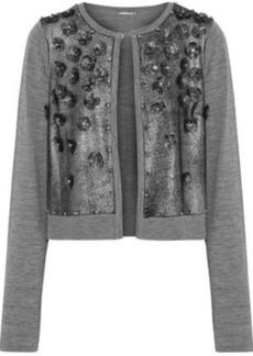 Elie Tahari Woman Alena Embellished Metallic Suede-paneled Merino Wool Cardigan Gray