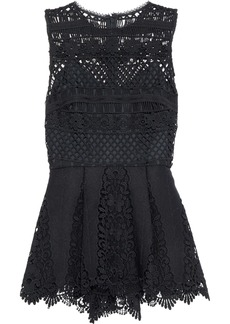 Elie Tahari Woman Alessandra Crepe-trimmed Crocheted Peplum Top Black