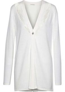 Elie Tahari Woman Amber Lace And Crepe-paneled Merino Wool Cardigan Ivory