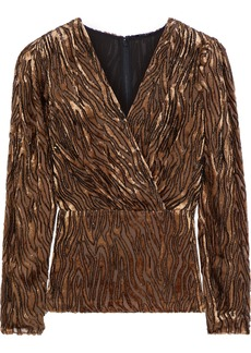 Elie Tahari Woman Amit Wrap-effect Tiger-print Devoré-velvet Peplum Blouse Animal Print